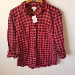NWT J. Crew Red Buffalo Plaid Flannel Shirt Small